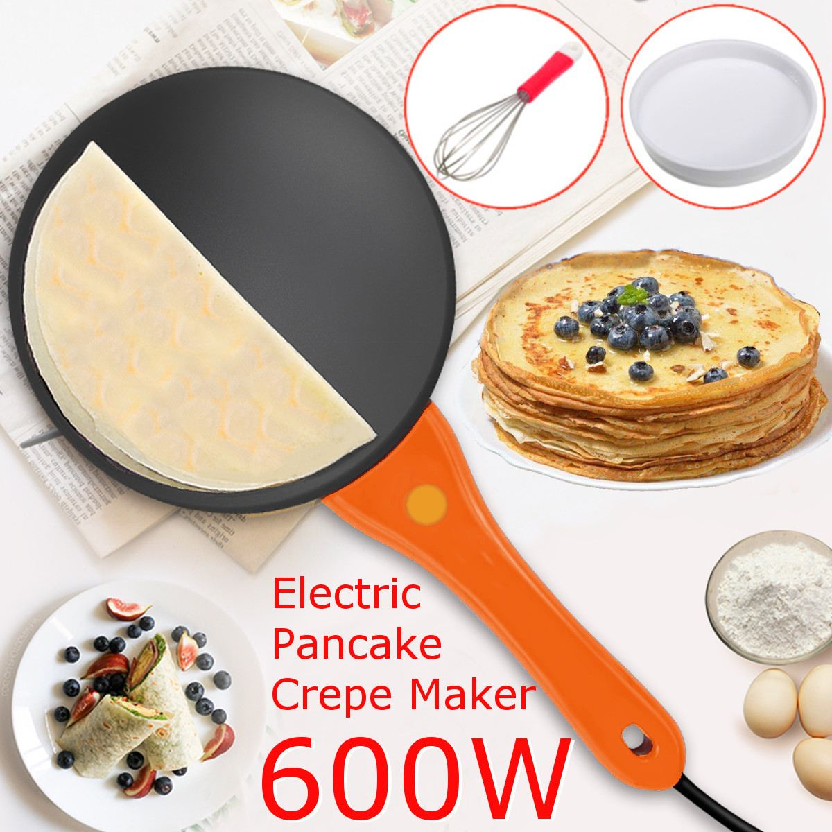 220V Non Stick Electric Crepe Pizza Maker Pancake Machine Kitchen Cookare Griddle Baking Pan Cake Machine Cooking Tools Crepe