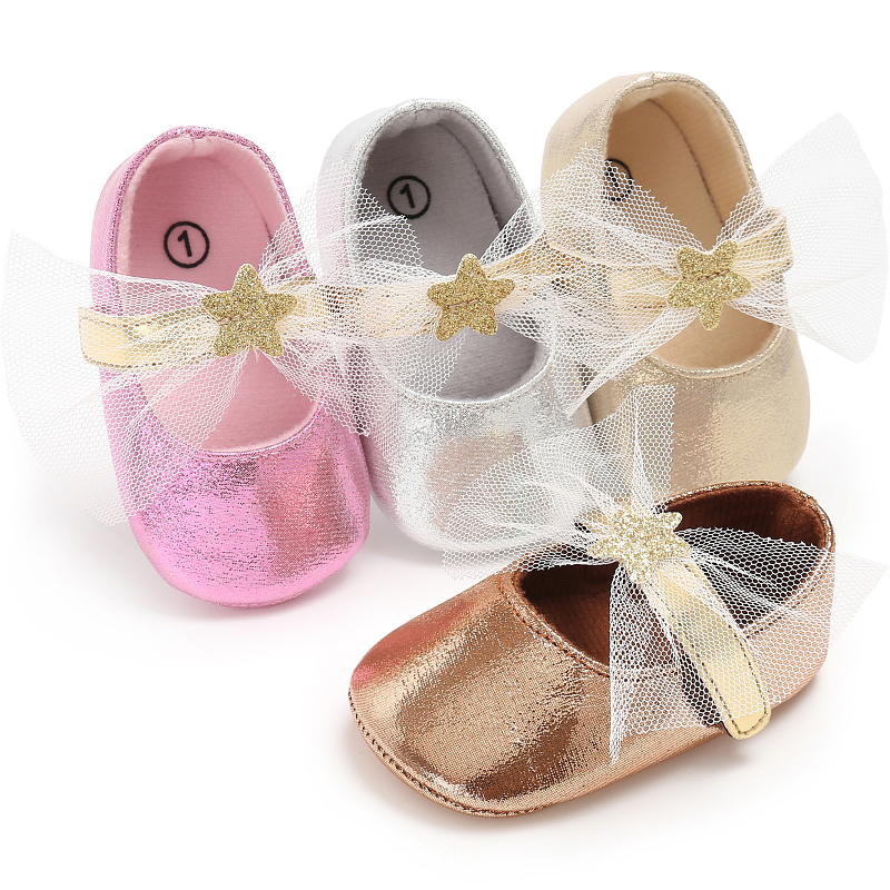Baby Girls Princess Shoes PU Leather Bling Bling Sweet Lace Star Mary Jane Kids Crib Prewalkers Soft Rubber Soled Shoe S2