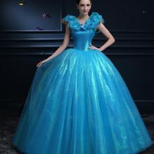 Фильм о Золушке костюмы для женщин Chritsmas вечерние платья взрослых Косплей костюмы бальное платье с кружевом на спине