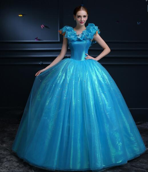 Cinderella Movie Costumes Women Chritsmas Party Dress Adult Cosplay Costumes Ball Gown Dress With Lace On The Back