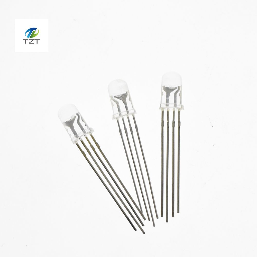20pcs 5mm rgb led common cathode tri color emitting diodes f5 rgb diffused