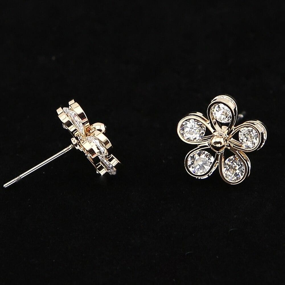 TrinketSea Women <font><b>Flower</b></font> Stud Earrings Ear Costume Fashion Jewelry New Rhinestone Glass Cubic Zirconia Bead Charm Free Shipping