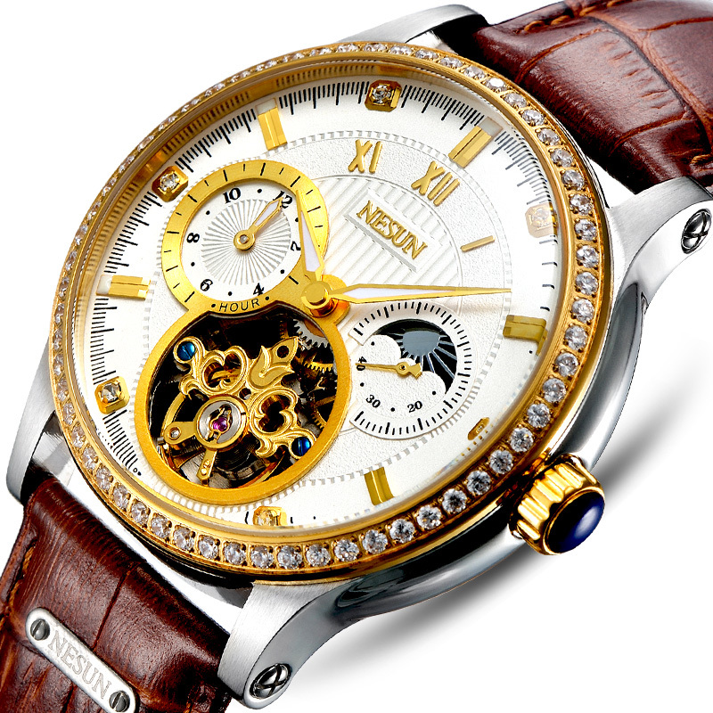 Luxury Brand Switzerland NESUN Skeleton Diamond Watch Men Automatic Self Wind Men s Watches 100M Waterproof