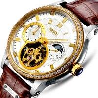 Luxus Marke Schweiz NESUN Skeleton Diamant Uhr Männer Automatische Selbst Wind männer Uhren 100M Wasserdichte uhr N9093-6