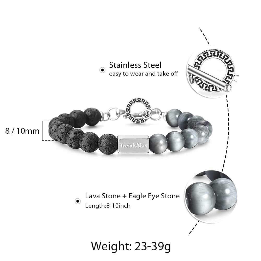 Natural Stone Beads Bracelets Lava Stone Eagle Eye Beads Bracelets for MensWomens StainlessSteel Gem Link Wristband TBX00803