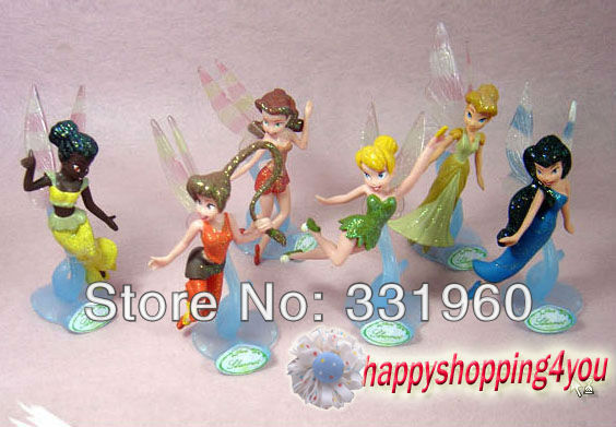 High Quality PVC Cartoon Tinkerbell Fairy Adorable tinker bell Toy Figures  6 PC Free shipping!