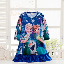 Snoww Queen Elsa anna Longsleeve winter nightgown Girl Pajamas Dress Kid Sleepwear Pyjama Girl's Casual dress Girls Nightdresses