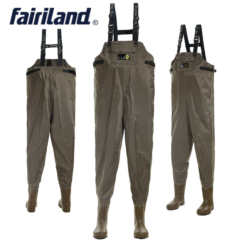 41-46 size  Men's fishing waders Chest-high wader with wading boots  bootfoot wader fly fishing cloth Nylon shell