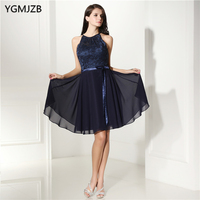 Sexy Open Back Cocktail Dresses Lace A line Knee Length Women Navy Blue Short Prom Dresses Party Gown Robe De Cocktail Gowns