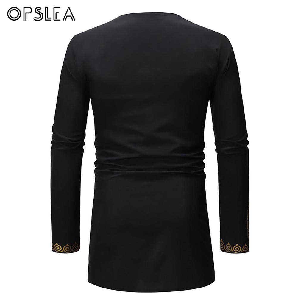 Opslea Dashiki アフリカホットスタンプ長袖男性 Tシャツ 2019 新ラウンド襟トップ夏アフリカの男性ファッションカジュアル衣類