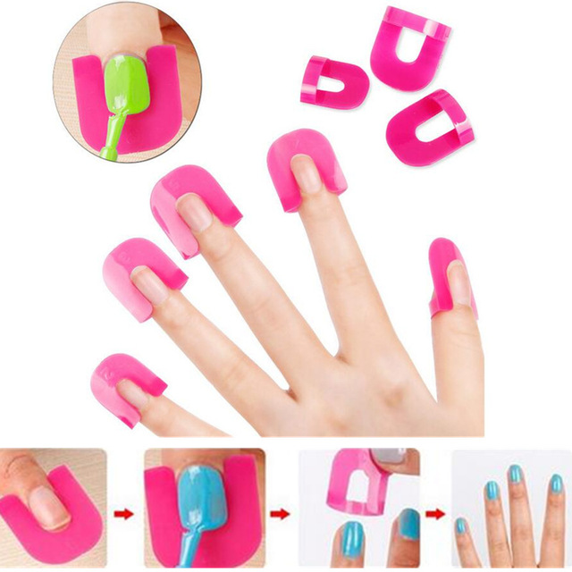 26PCS Pack Professional French Nail Art Manicure Stickers Tips Finger Cover Polish Shield Protector Plastic