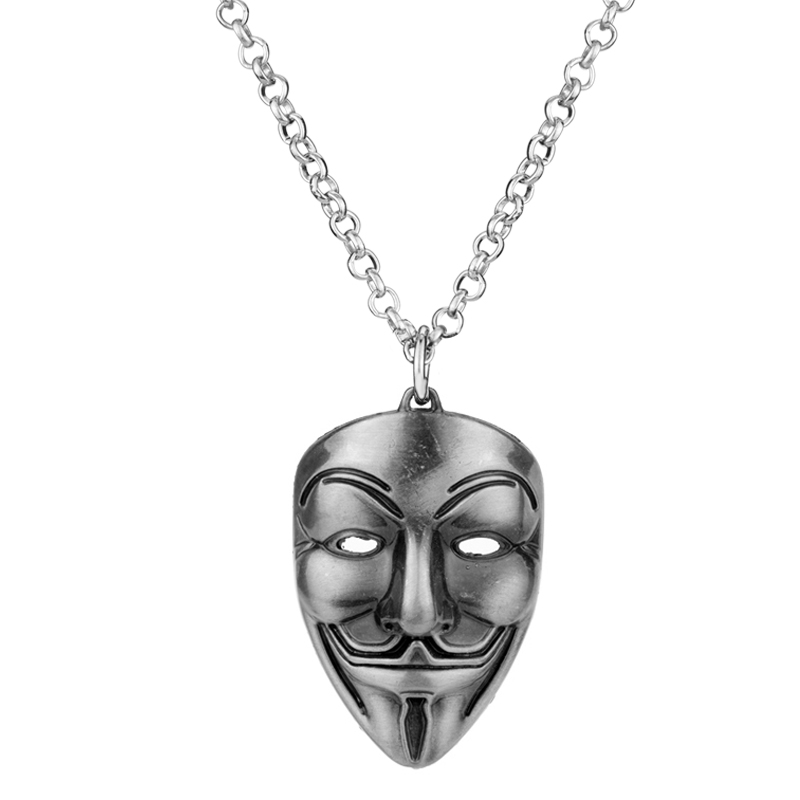 MQCHUN Movie Jewelry V for Vendetta ANONYMOUS Mask Exaggerated Hacker Mask necklaces Trendy Jewelry For Men And Women|Pendant Necklaces| - AliExpress