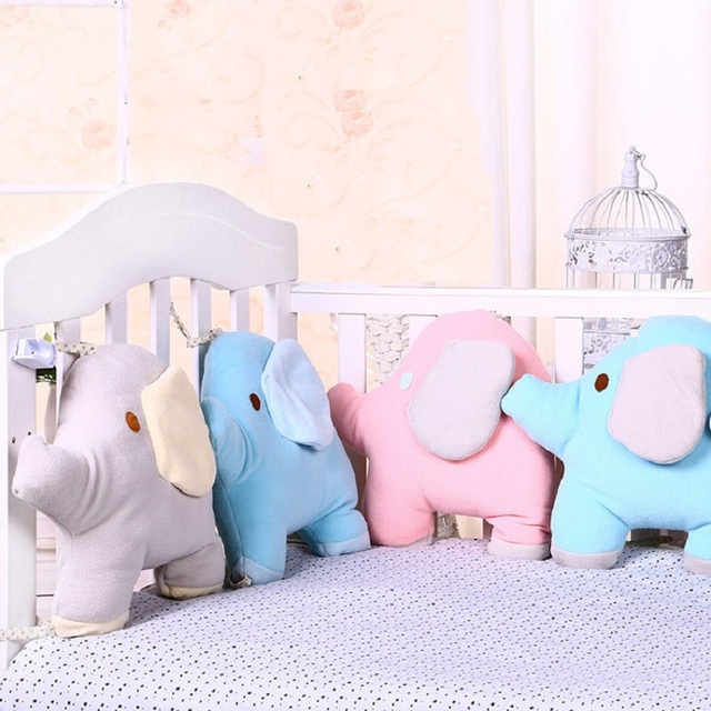 6Pcs/Set Baby Bed Bumper For Newborns Elephant Crib Bumper Infant Cot Crotch Soft Thick Baby Crib Protector