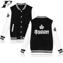 2017 King&queen winter baseball Jacket bomber jacket men women Funny jaquetas Plus size  Female Coat Street Wear casaco feminino