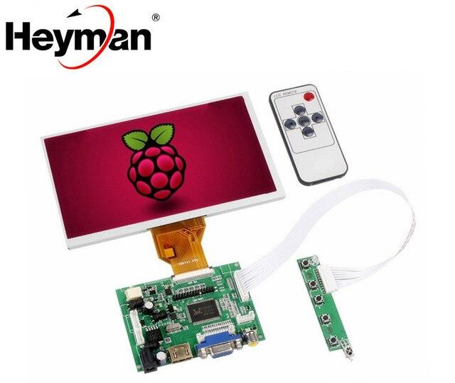 7 Inch AT070TN92 LCD Display Resolution Monitor Remote Driver Control Board 2AV HDMI VGA For LattepandaRaspberry Pi Orange