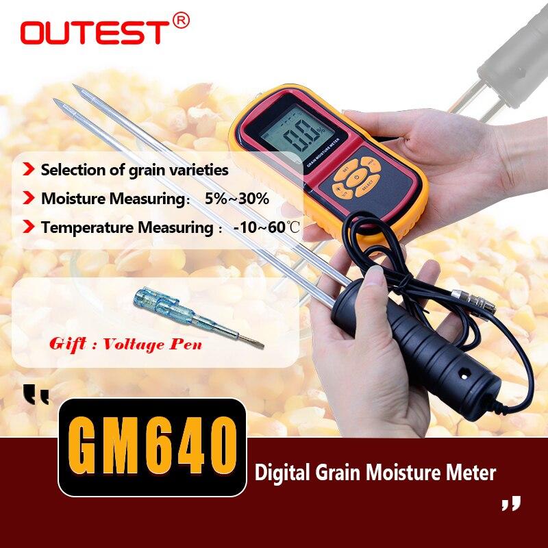 LCD Food moisture meter GM640 Grain Moisture Meter for Corn Wheat Rice Bean Temperature Humidity Tester