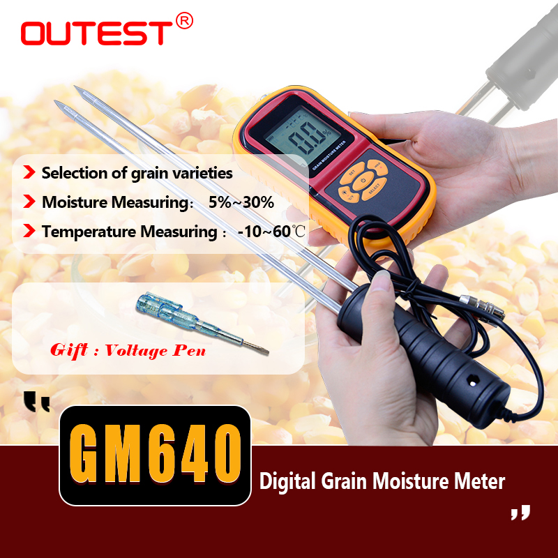 LCD Food moisture meter GM640 Grain Moisture Meter for Corn Wheat Rice Bean Temperature Humidity Tester Monitor +Long probe цена