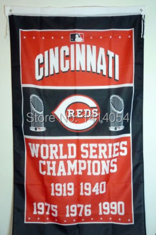 Cincinnati Reds World Series Champions Flag 150X90CM MLB 3X5 FT Banner 100D Polyester flag grommets 009, free shipping