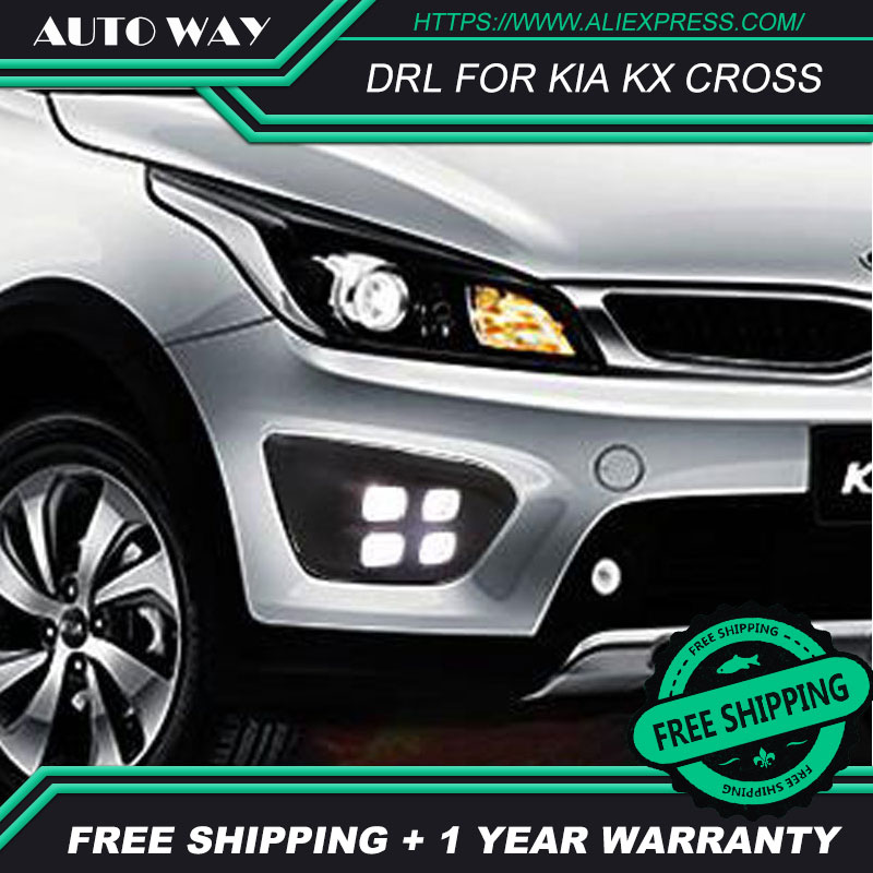 Free shipping ! 12V 6000k LED DRL Daytime running light case for KIA KX CROSS 2017 fog lamp frame CROSS Fog light Car styling все цены
