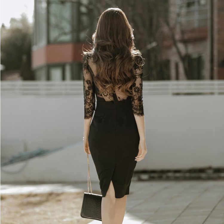 YaLiShi черное кружевное платье летние женские 2018 однотонные облегающие винтажные сексуальные Клубные платья socialite большие размеры платье-карандаш