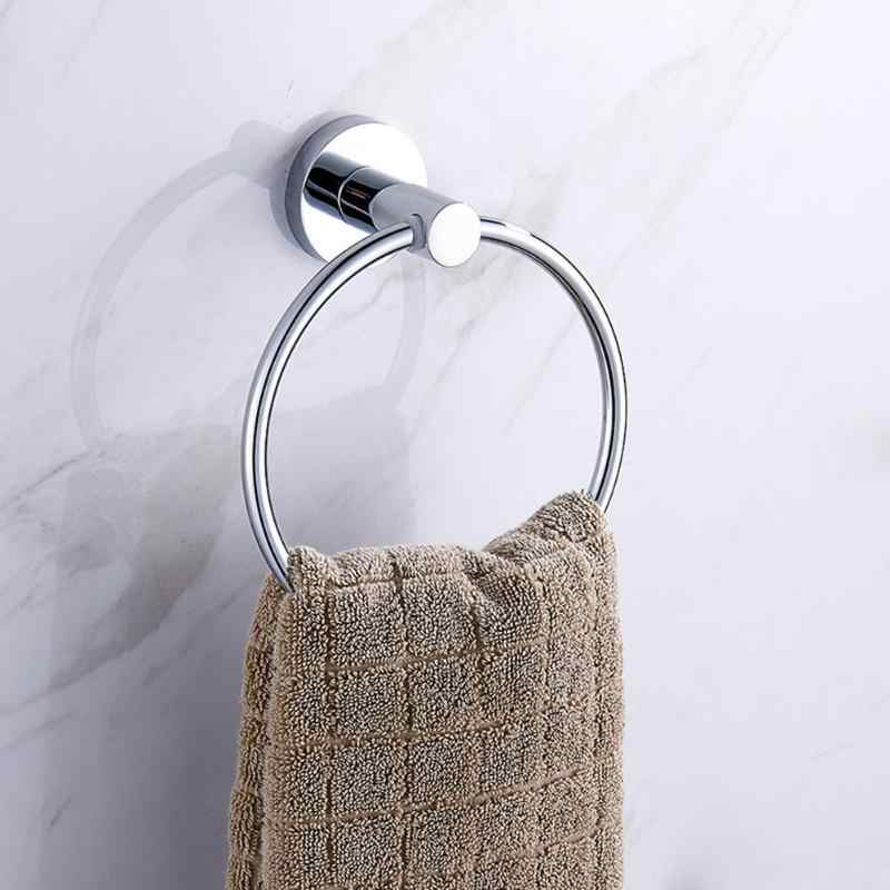 Stainless Steel Round Style Wall Mounted Towel Ring Holder Hanging Hand Rack Rail Towel Holder Hanger Bathroom Hardware