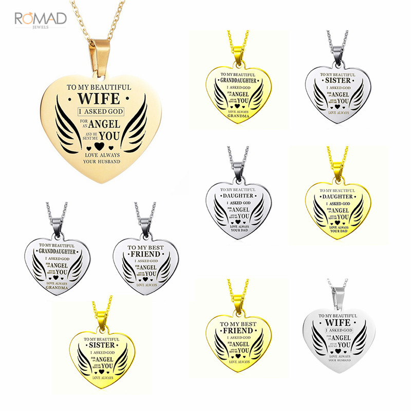 Romad Love Heart Letters Necklace Gold Silver Heart Shape Necklaces Pendants For Wife Sister Daughter Gift in Pendant Necklaces from Jewelry Accessories