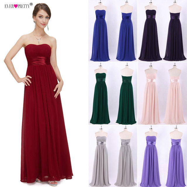 Long Bridesmaid Dress 2018 Ever Pretty EP09955 Women's Sexy Chiffon Bow A-line Purple Burgundy Elegant  Wedding Party Dress