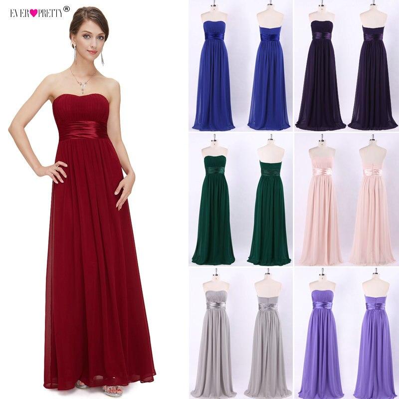 Long Bridesmaid Dress 2019 Ever Pretty EP09955 Women's Sexy Chiffon Bow A-line Purple Burgundy Elegant  Wedding Party Dress