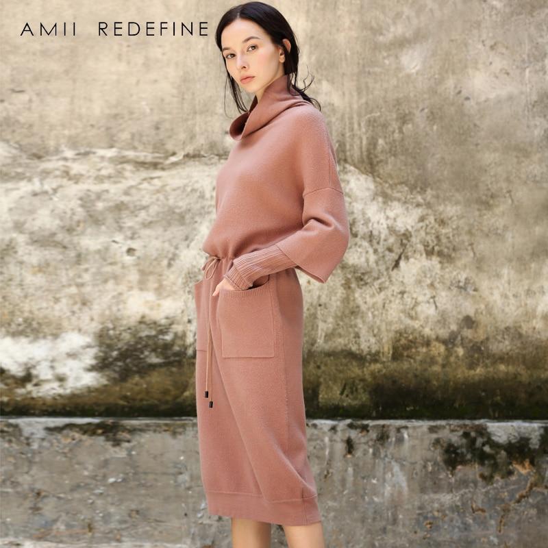 Amii Redéfinir Robe Femmes Hiver 2018 Vintage Solide Ceintures Manches Bouffantes Empire Lace Up Bow Poches Élégant Tricoté Robe Pull