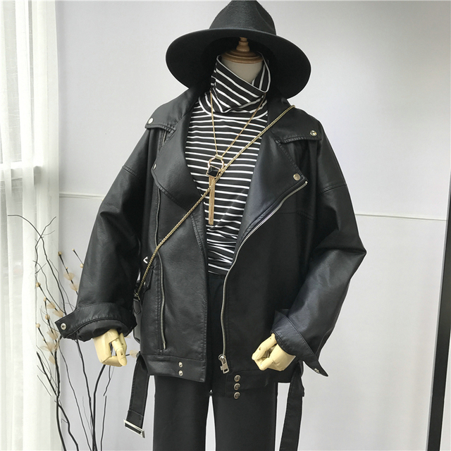 [EAM] haute qualité 2020 printemps cuir synthétique polyuréthane noir ample col rabattu fermeture éclair mode nouvelle veste sauvage pour femmes LA938 3