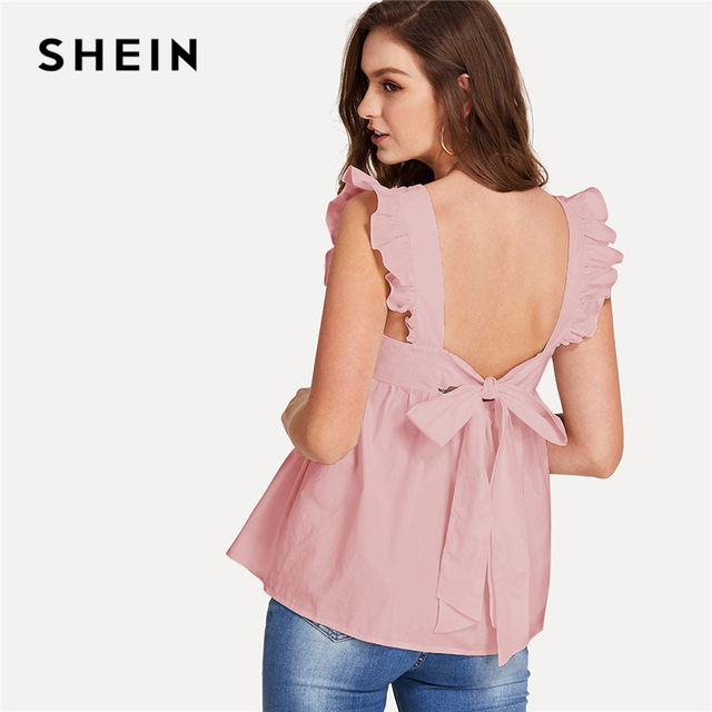 18d9ec325bf4a2 SHEIN Pink Preppy Backless Round Neck Sleeveless Ruffle Trim Knot Back  Smock Blouse Summer Women Weekend