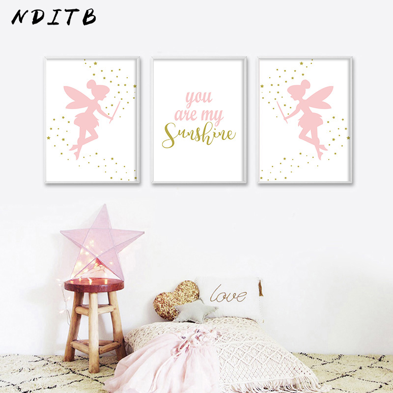 NDITB Pink Fairy Cartoon Canvas Art Poster Nursery Quote Print Minimalist Painting Wall Picture For Baby Girls Living Room Decor