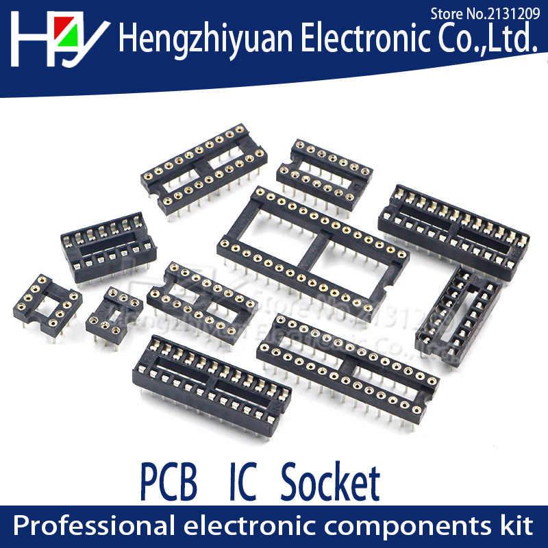 ซ็อกเก็ต IC DIP8 DIP14 DIP16 DIP18 DIP20 DIP28 DIP40 Pins รอบ Hole ไมโครคอนโทรลเลอร์ 2.54 เชื่อมต่อ PCB DIP ซ็อกเก็ตเข็มที่นั่ง