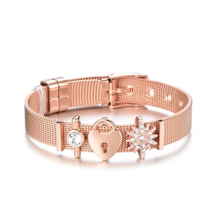 Dropshipping Mode Schmuck Rose Gold Mesh Charme Armband Set edelstahl DIY Marke Armband Armreif für Frauen