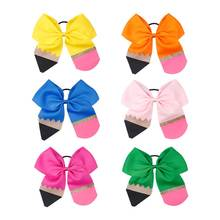 2019 new Fashion Pencil Print Glitter Cheer Bows Back To School Barrettes Elastic Hair Rope For Kids Hair Accessories