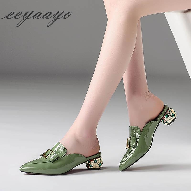 Las Mujeres Zapatillas Vaca Genuino Dulce Green De Mulas Zapatos Fuera Tacón 2019 Diapositivas Medio Cuero nude Verano Verde Nuevo w1xOXSq0Y