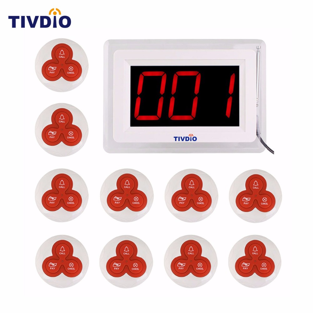 TIVDIO Pager Wireless Calling System Restaurant Paging System 1 Host Display+10 Table Bells Call Button Customer Service F9405B one set wireless system waiter caller bell service 1 watch wrist pager with 5pcs table customer button ce passed