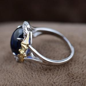 Image 2 - GQTORCH Blue Sapphire Rings 925 Sterling Silver Jewelry Trendy Style Yellow Gold Plated Bagues Argent Femme
