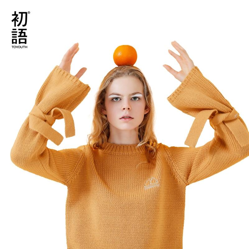 Toyouth вязаные свитера осень 2017 г. женские повседневные свободные Вышивка О-образным вырезом сплошной цвет толстые линии пуловер свитер