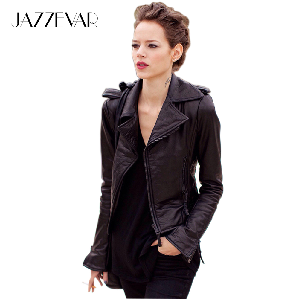 Real Genuine Leather High Fashion Street Brand Style Women 39 S Short Motorcycle Jacket Black Basic