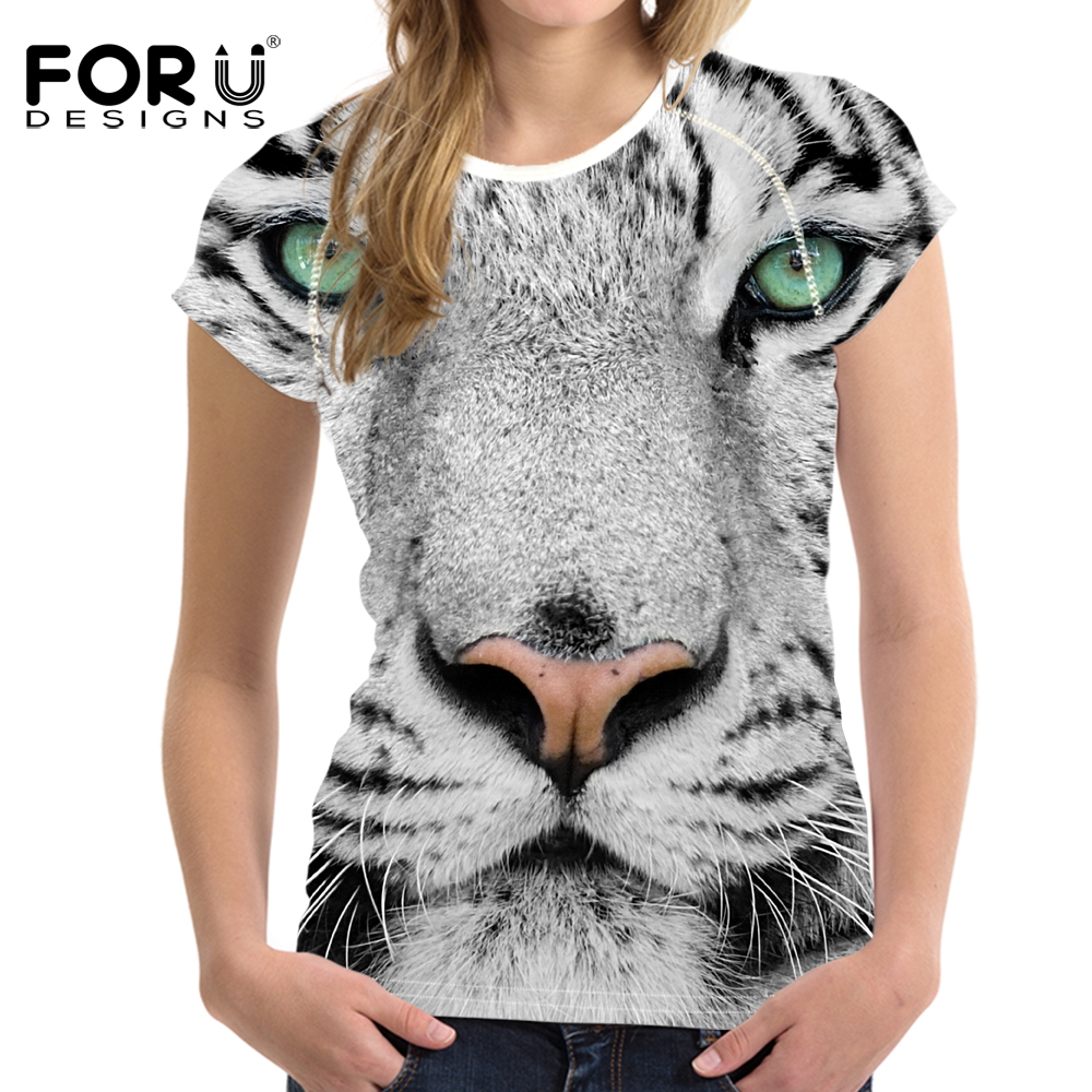 FORUDESIGNS Stilvolle 3D Tiger Muster Frauen Casual T Shirts Tops - Damenbekleidung - Foto 1