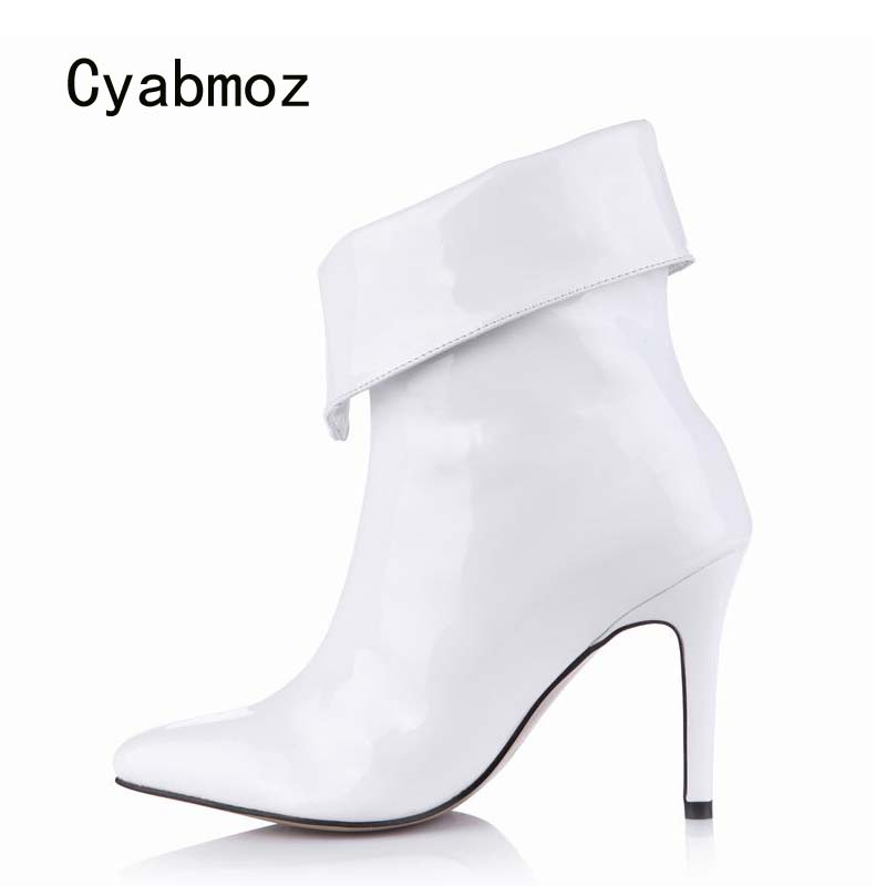 Cyabmoz Women Ankle Winter Boots Fashion Sexy Thin High Heels Pointed Toe Shoes Woman Party Shoes Zapatillas Botas Zapatos Mujer