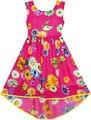 Girls Dress Hi-lo Maxi Chiffon Butterfly Flower Party Evening Sundress 2017 Summer Princess Wedding Dresses Clothes Size 7-14