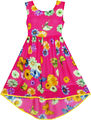 Niñas Vestido de hi-lo de La Gasa Maxi Partido de la Flor de Mariposa Vestido de Tirantes 2017 de La Princesa Del Verano Vestidos de Novia Tamaño de la Ropa de Noche 7-14