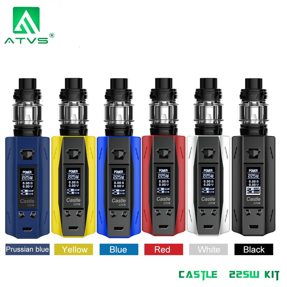 ATVS Castle 225W Vape Mod Kit E Cigarettes 18650 Battery TC VW Bypass Box Mod 3ml Top Fill Atomizer Tank Vaporizer E Cigs(China)