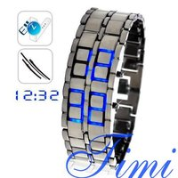 ขายส่งซามูไร-ญี่ปุ่นแรงบันดาลใจไฟLEDสีฟ้านาฬิกาfreeship