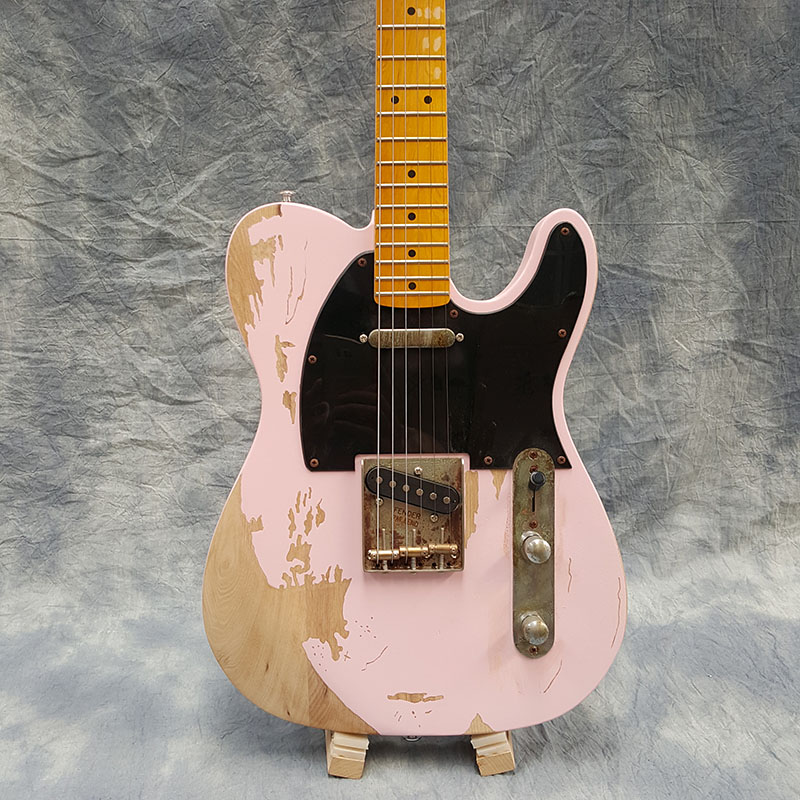 Galilee,relic TL electric guitar,Quality assurance,Maple fingerboard,pink body,relic Guitar accessories.Real photos freeshipping