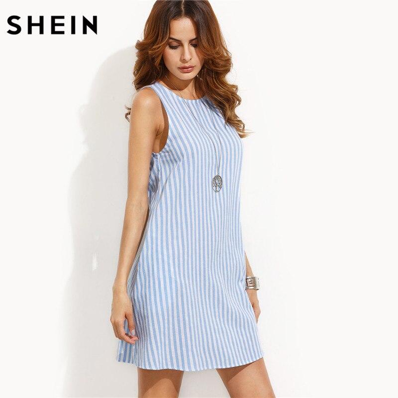 Шеин женское платье Летнее Повседневное платье дамы синий и белый полосатый Цельнокройное платье без рукавов летнее платье на бретелях