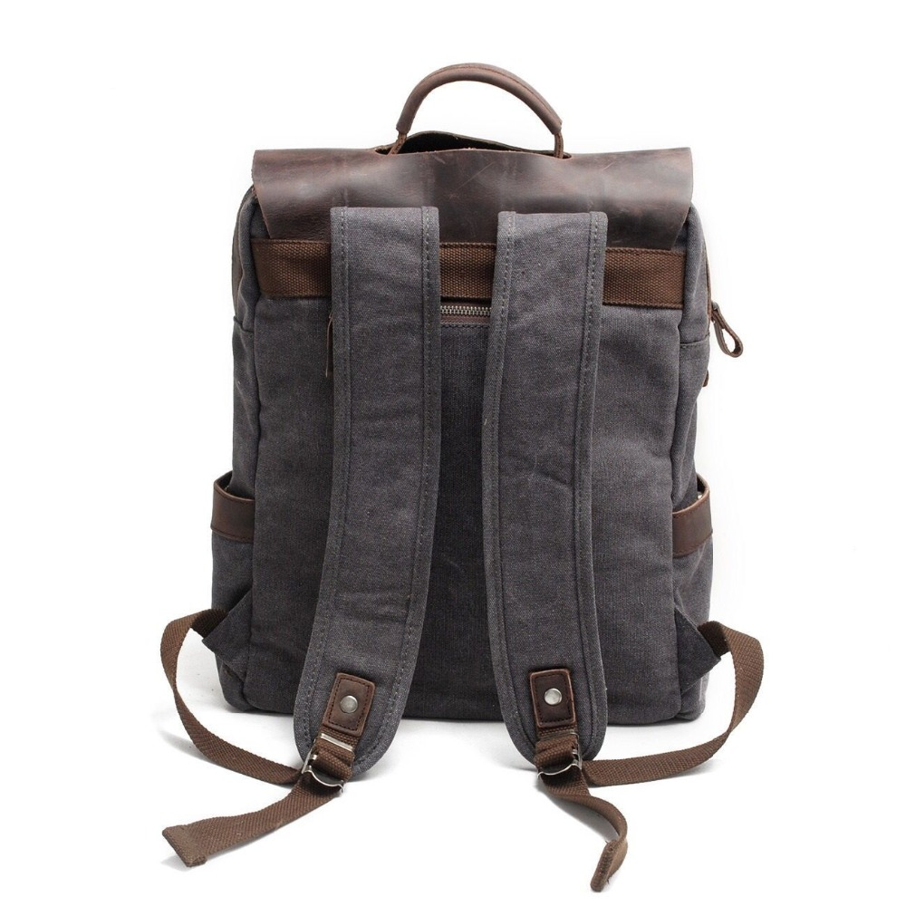 Men Canvas Backpack School Bags Laptop Backpack Male Vintage Military Crazy Horse Leather Shoulder Travel Bag Backpack Schoolbag #3