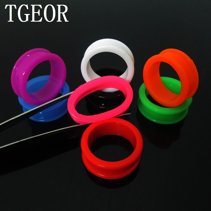 Hot Selling body jewelry round shape silicone ear tunnels 1 pair mixed gauges flexible hollow ear plug free shipping